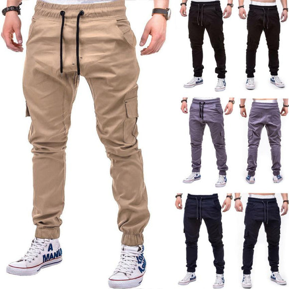 Men's Pants 2018 Fashion Men's Pure Color Bandage Casual Loose Sweatpants