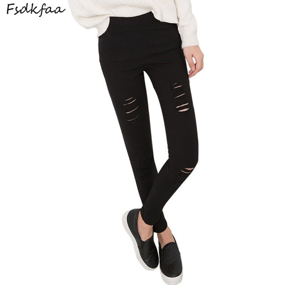 FSDKFAA Skinny Pants Women Sexy Holes Knee Pencil Pant