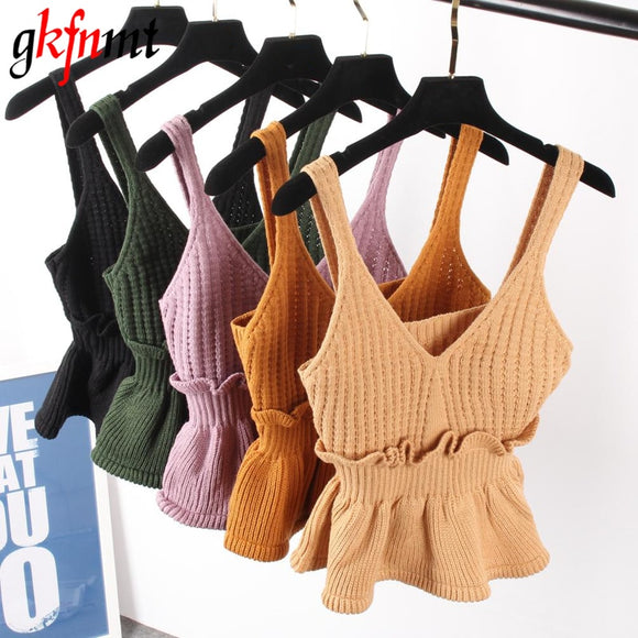 Sexy Stretchable Knit V Neck Crop Cami Tops Autumn Style 2018