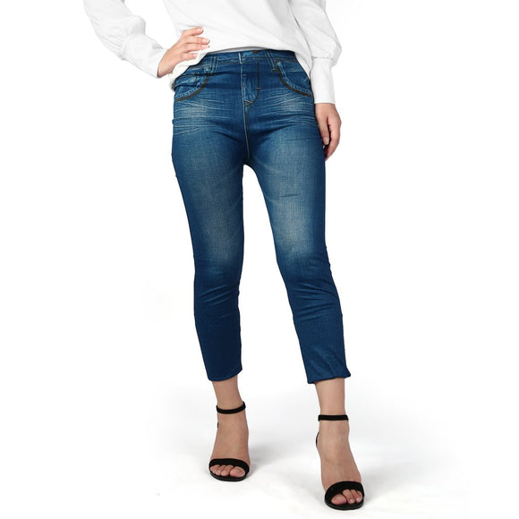 Fake Pockets Women Denim Jeans Seamless Sexy Skinny Leggings