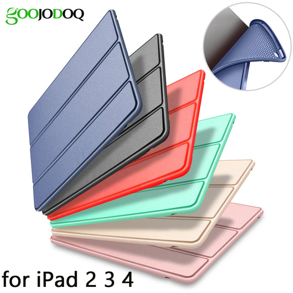 Case for iPad 2 3 4 Case Silicone Soft Back Folio Stand with Auto Sleep/Wake Up