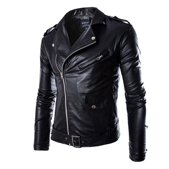 VERTVIE New Autumn Men's PU Leather Jacket