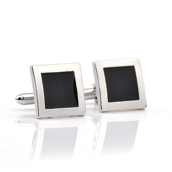 French Men Shirt Black Silver Square Fashion Cufflinks