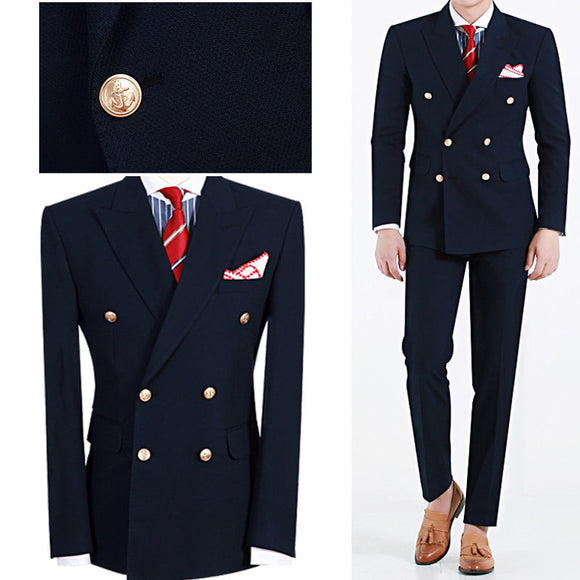 Latest Design Hot Selling Fashion Terno Masculino Navy Blue Peaked Lapel Double Breasted Mens Suits
