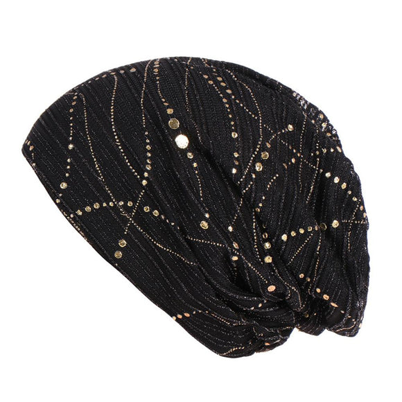 Women Polyester Cancer Chemo Hat Beanie Scarf Turban Head