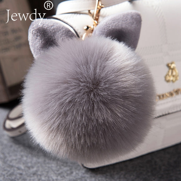 2018 Fur Pom Pom Keychains Fake Rabbit fur ball key chain - NosNos