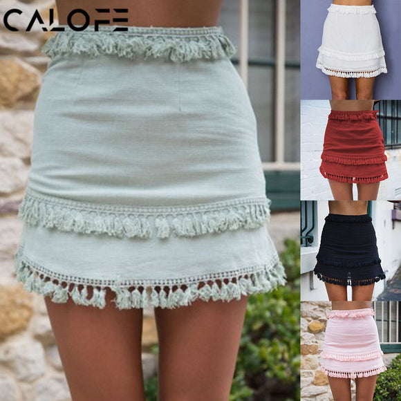 CALOFE Summer Sexy Fringe mini skirt Women Boho Style Knitted Lace