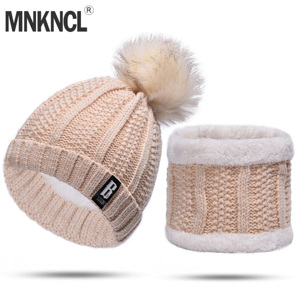 MNKNCL 2 Pieces Set Winter Hat And Scarf For Women Winter Beanies Wool