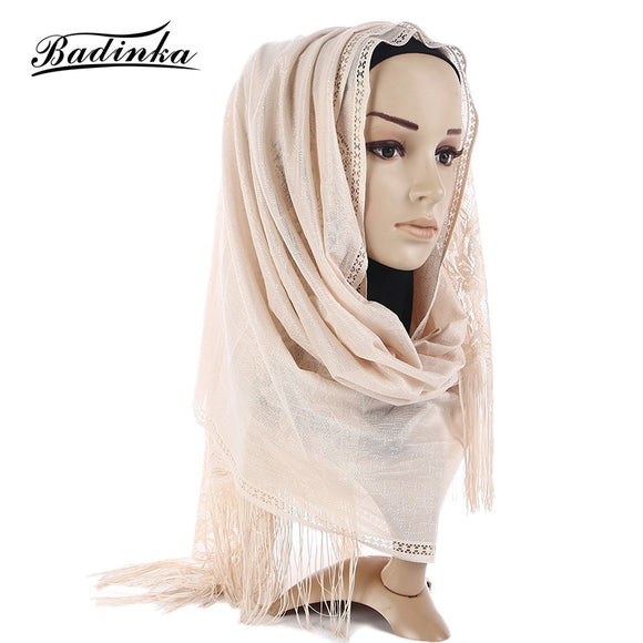 Badinka 2018 New Black White Premium Jersey Plain Cotton Hijab Scarf