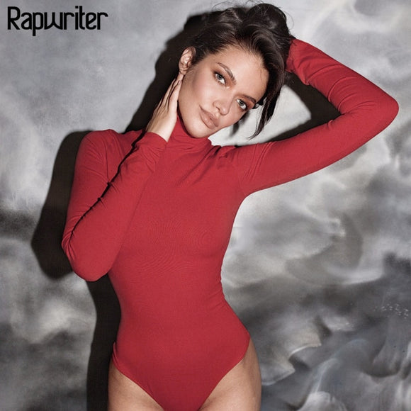 Rapwriter Sexy Solid Knitted Cotton Turtleneck Skinny Bodysuits