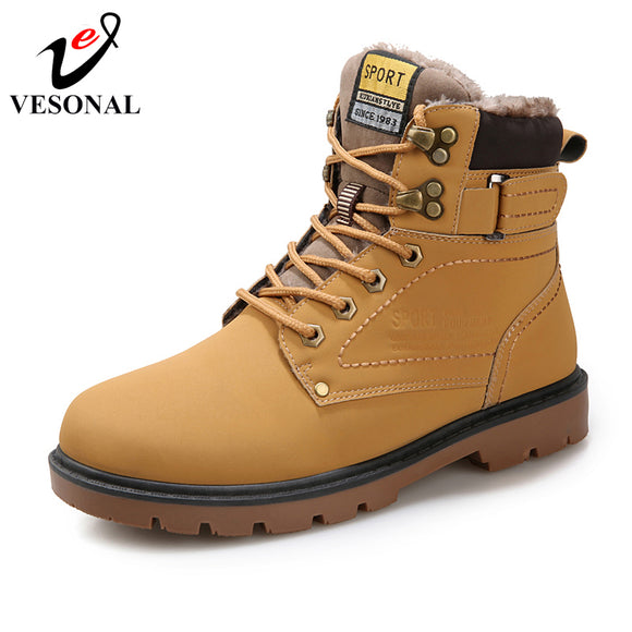 VESONAL 2018 Winter Fur Warm Male Boots For Men Casual Shoes Work Adult Quality Walking Rubber Brand Safety Footwear Sneakers