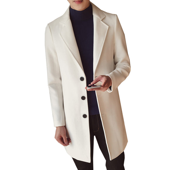 Men's Solid Color Wool Coat England Middle Long Coats Jackets