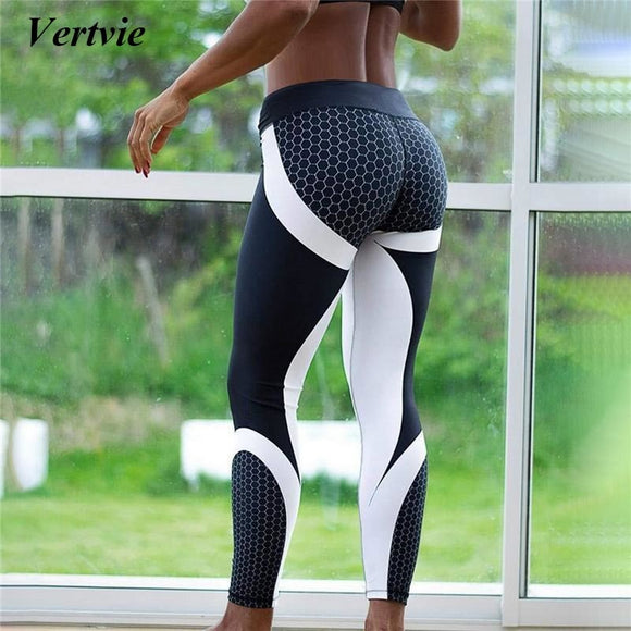 Vertvie Honeycomb Printed Yoga Pants Women Push Up Sport Leggings Professional Running Leggins Sport Fitness Tights Trousers