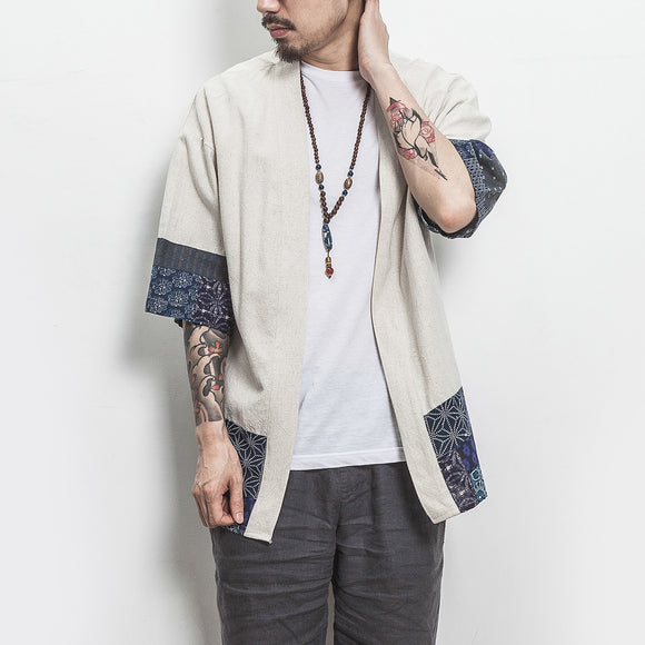Drop Shipping Cotton Linen Shirt Jackets Men Chinese Streetwear Kimono Shirt Coat