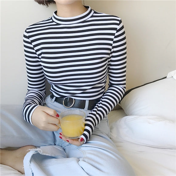 2018 Korean Style Long Sleeve T Shirts Women New Hot Sale Student T-shirt
