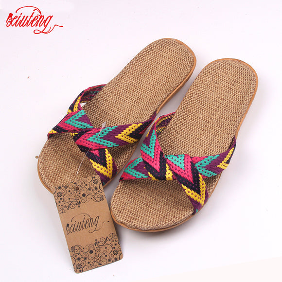 2018 Fashion Flax Home Slippers Indoor Floor Shoes Cross Belt Silent Sweat Slippers For Summer Women Sandals - NosNos