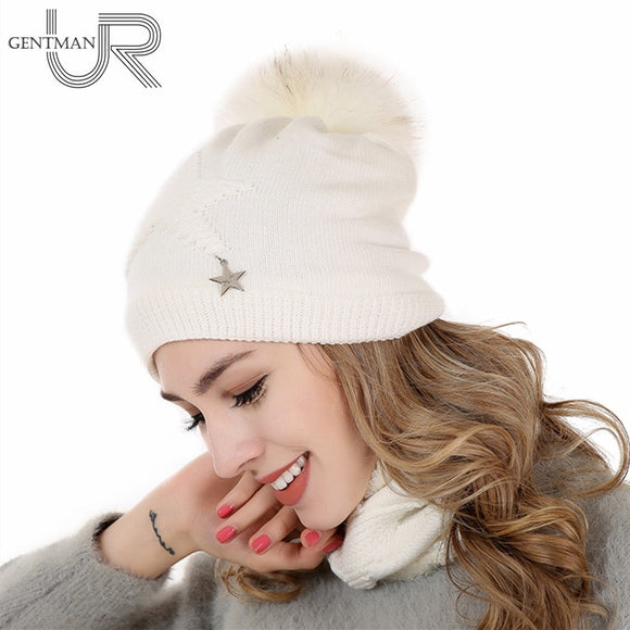 New Women Warm Winter Hat Add Fur Lined Soft Beanies Neck Warmer Scarf