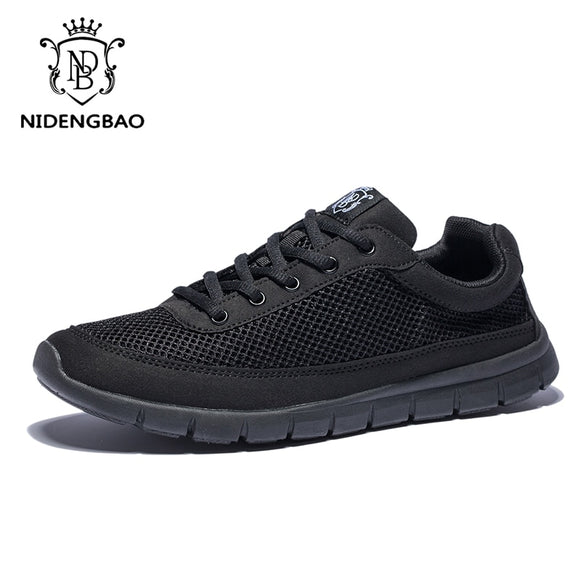 Brand Men Casual Shoes Breathable Lace-Up Walking Shoes Lightweight Comfortable Mesh Men Sneakers Shoes Black Plus Size 49 50