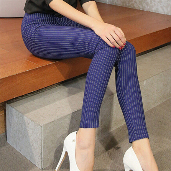 Women Vertical Striped Pants Female Pencil Ankle-length Pants
