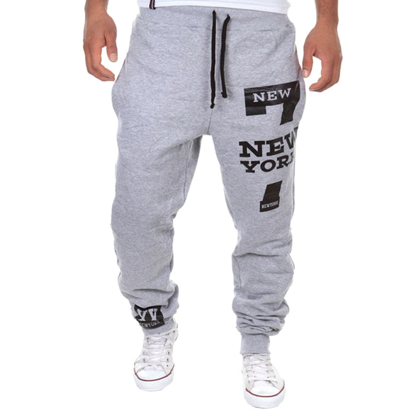 VERTVIE 2018 New Men 7 New York Letter Print Sweatpants Joggers Male