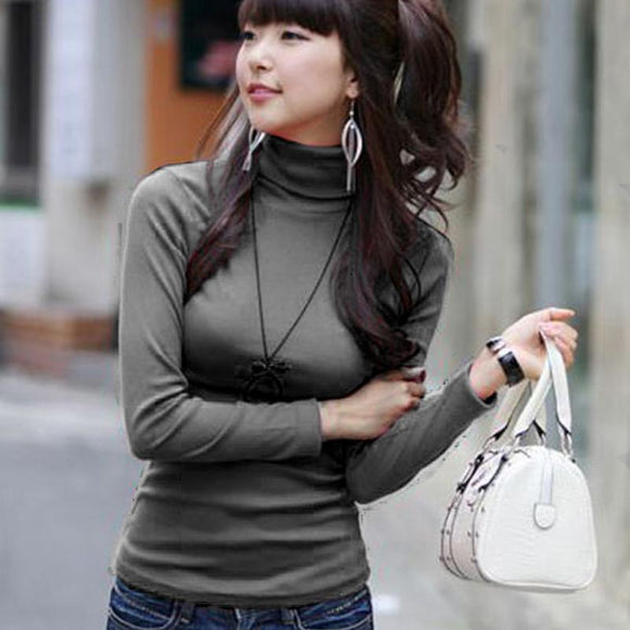 Autumn Women Turtleneck Milk Silk Pullovers Bottoming Black shirt Long sleeve