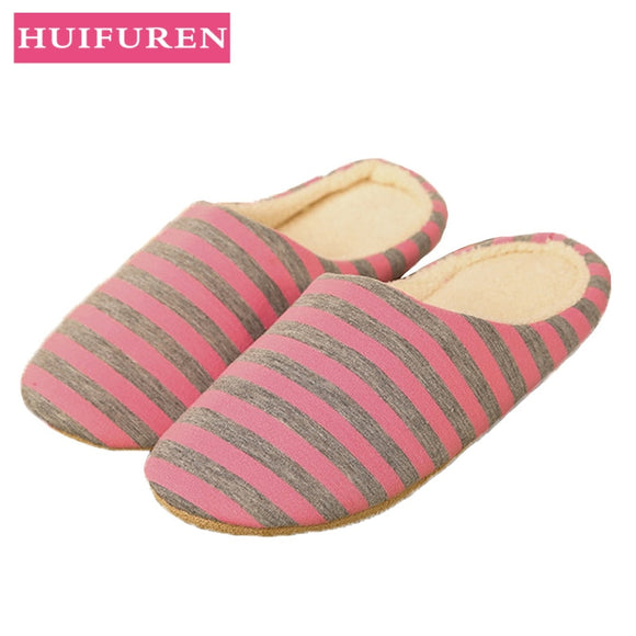 Slipper women Striped Bottom Soft Home Slippers Warm Cotton Shoes Women Indoor Slippers Slip-On Shoes for Bedroom House