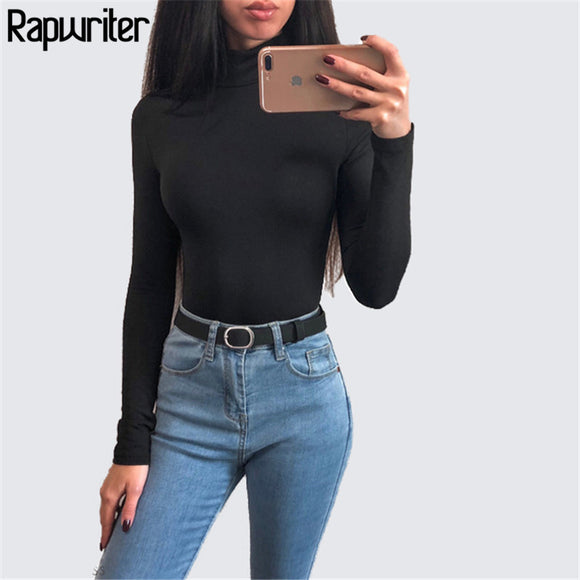 Rapwriter Sexy Solid Color Turtleneck Skinny Bodysuits Women 2018