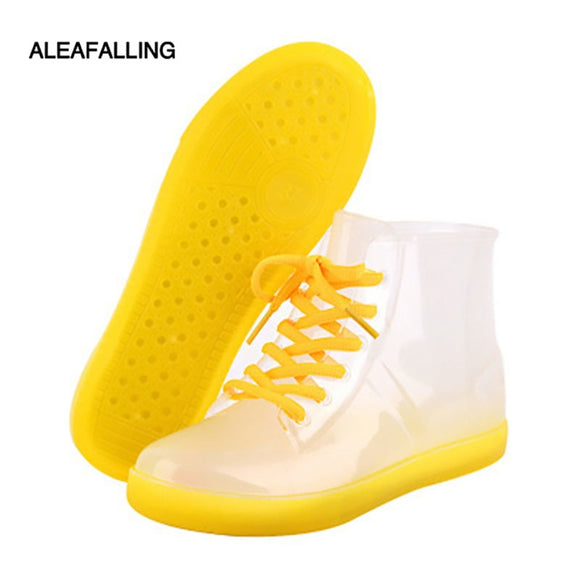 Aleafalling Ankle Rain Boots British Fashion Platform Lace Up PU Waterproof Motorcycle Colorful Ankle Mature Boots Woman Shoes