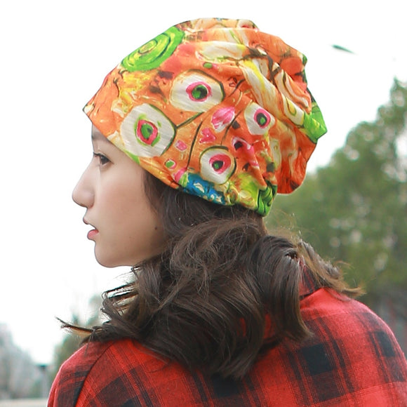 Helisopus 2018 New Styles Women's Summer Floral Printed Winter Beanies Hat