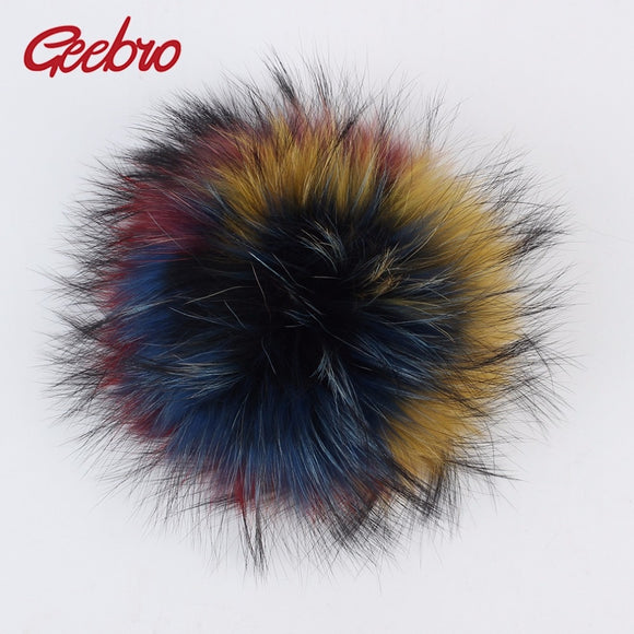 Geebro 1 PCS 15 cm Genuine Natural Raccoon Fur Pompoms Big Fur Balls