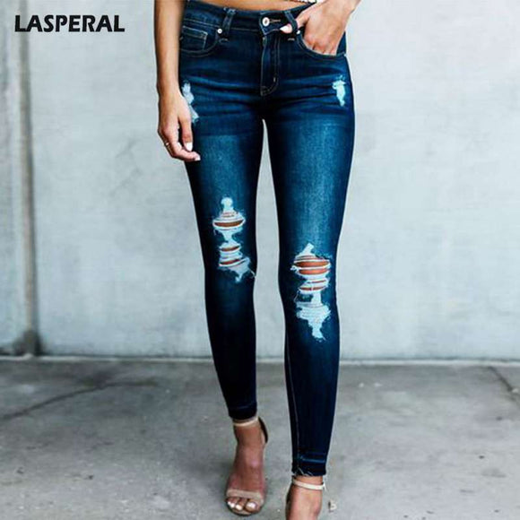 LASPERAL Women's Sexy Deep Color Holes Jeans Slim Denim