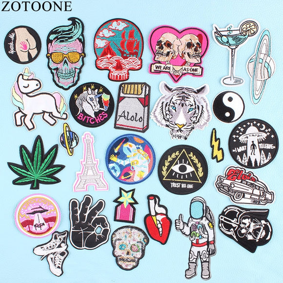 ZOTOONE UFO Space Skull Tiger Patch Iron on Sew On Applique Badge