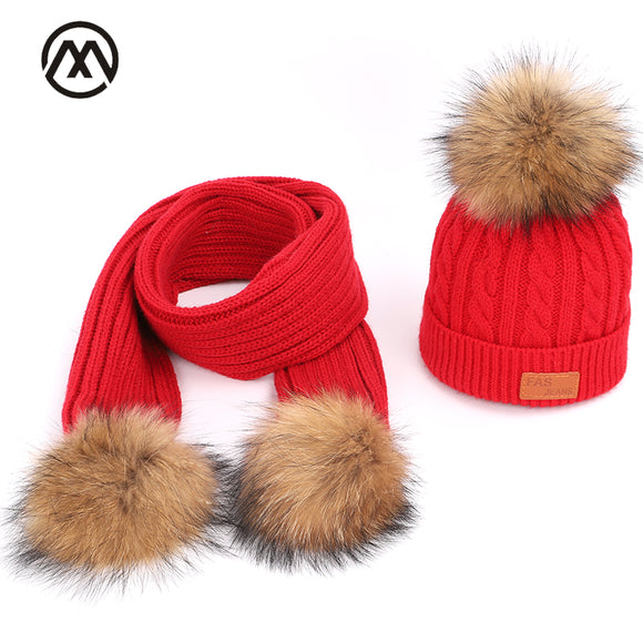 Knitted children's hats scarf boy girl universal warm comfort raccoon fur pom-pom