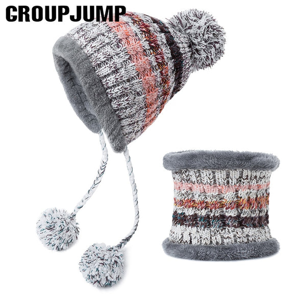 GROUP JUMP 5 Colors Hat&Scarf 2 Pieces Colorful Winter Hat