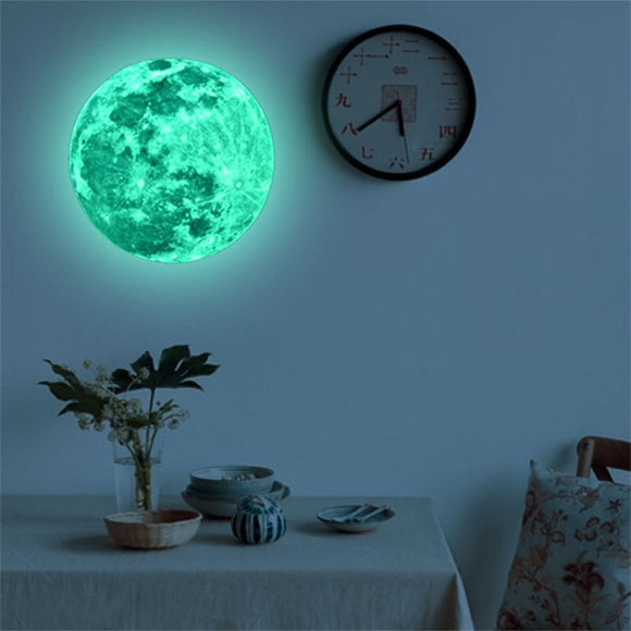 3D Large Moon Fluorescent Wall Sticker
