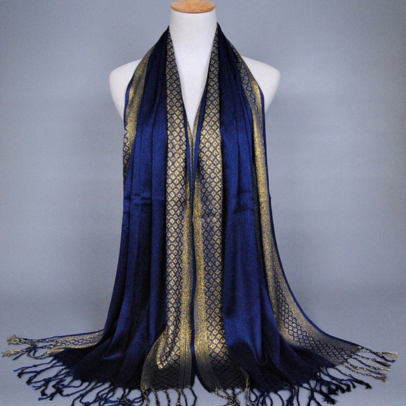 New Fashion Spring Summer Gold silk scarf hot long tassel scarf