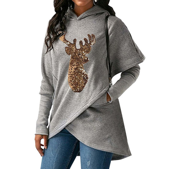 SHUJIN Christmas Sweater For Women 2018 Autumn Fashion Deer Printed Hooded Sweater