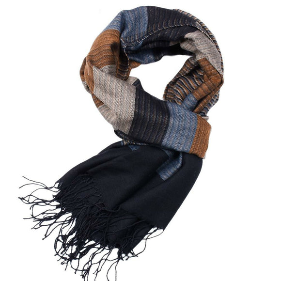 2018 Double Fine Striped Scarves Men Winter New Brand Fashion Plaid Scarf