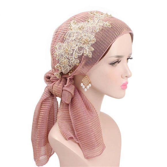 Women Fashion Floral Chemo Cancer Hat Muslim Scarf Ruffle Head Wrap