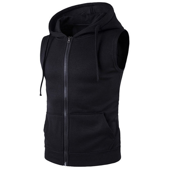 SHUJIN Brand 2018 Vest Men Fashion Solid Sleeveless Hoodies Cardigans Jacket