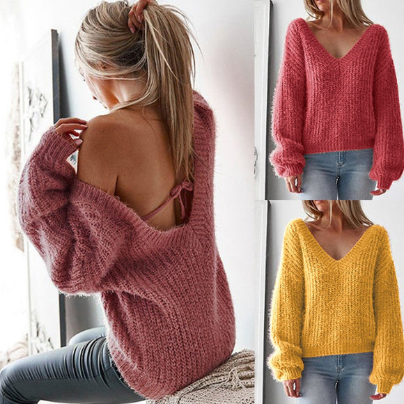 AVODOVAMA M Women Sweaters 2018 Autumn Casual Loose Solid Long Sleeve Pullovers