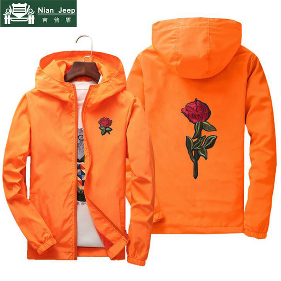 NIANJEEP Embroidery Rose Flower windbreaker Jacket men