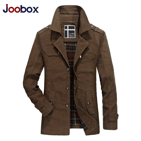 JOOBOX Spring Autumn Slim Fit Trench Coat Mens Cotton Button Long Male Casual Jacket