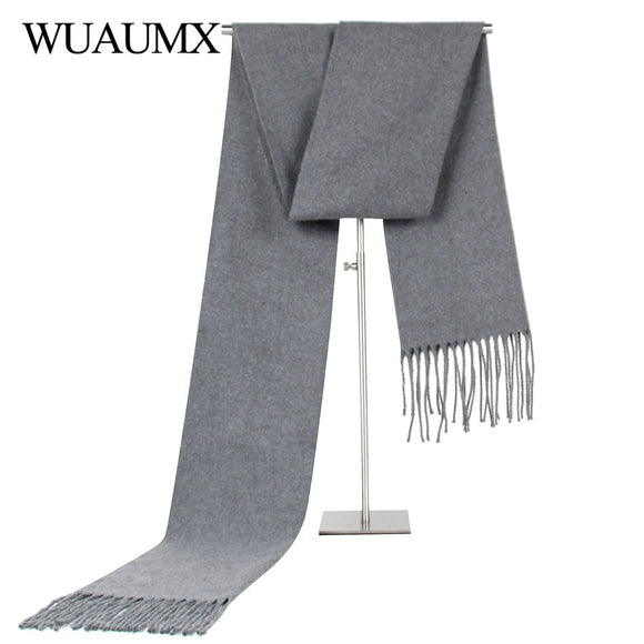 Wuaumx Casual Solid Scarf Men Winter Scarves Male Imitation Cashmere Warm Scarf