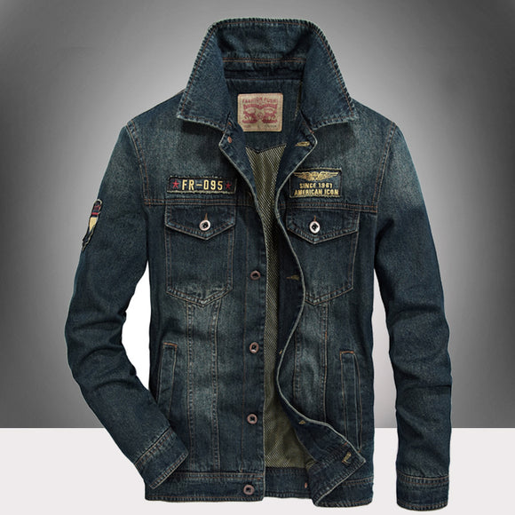 NIAN JEEP High Quality Denim Jacket Men Brand Clothes Autumn Turn-Down Collar Mens Jackets