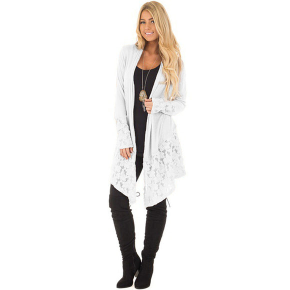 Elegant Loose Lace Knitwear Cardigan Long Sleeve SweaterL