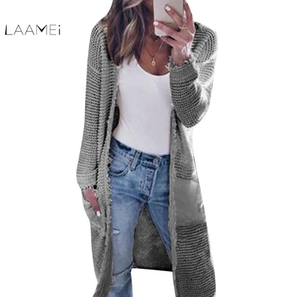 Laamei  Casual Knitted Sweater Coat Long Sweater