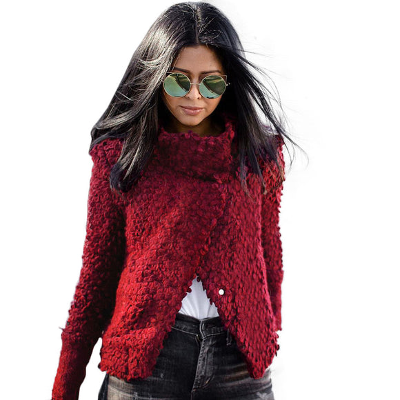 Women's Wine Red Knitting Sweaters Retro Long Sleeve