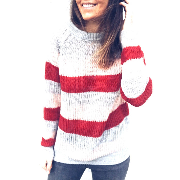 Women Multi Striped Knitted Sweaters Elegant Contrast Color Patchwork Pullovers