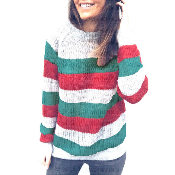 Women Rainbow Striped Knitted Sweaters Elegant Patchwork Pullovers
